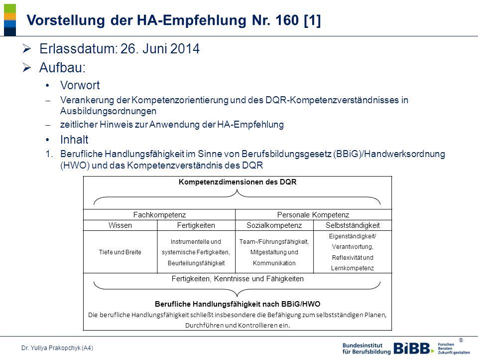 Vorstellung der HA-Empfehlung Nr. 160 [1]